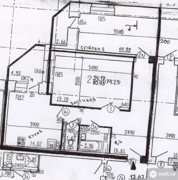2-комнатная квартира 77 кв.м