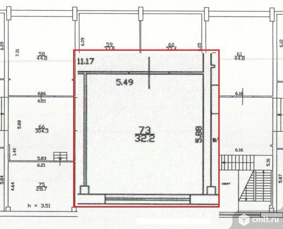 Офисное помещение 32.2 кв. м, м. Старая деревня