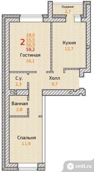 2-комнатная квартира 58,2 кв.м