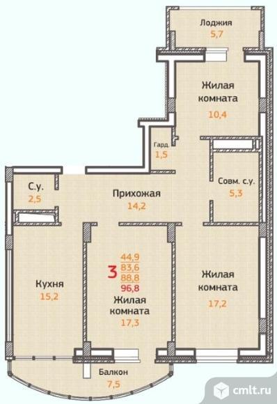 3-комнатная квартира 96,8 кв.м
