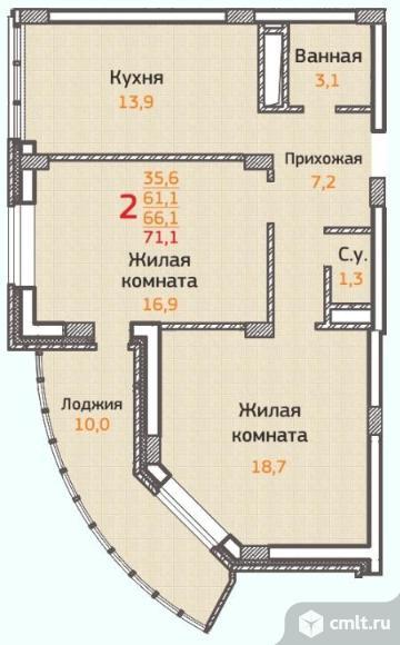 2-комнатная квартира 71,1 кв.м