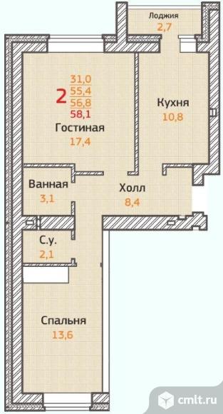 2-комнатная квартира 58,1 кв.м
