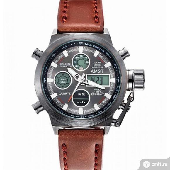 Часы amst 3003 коричневый ремешок. Фото 2.