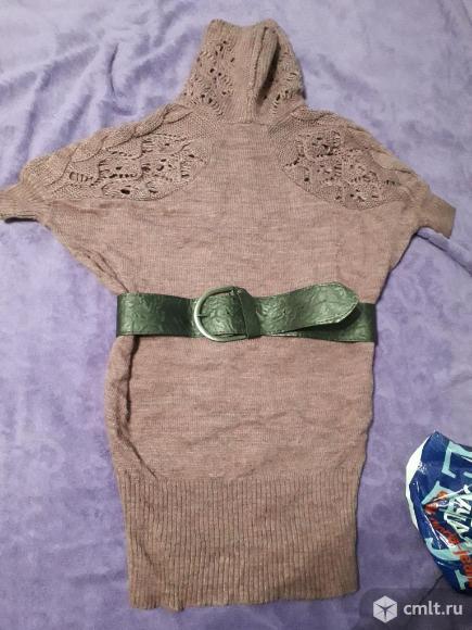 Платье с ремнем теплое.
