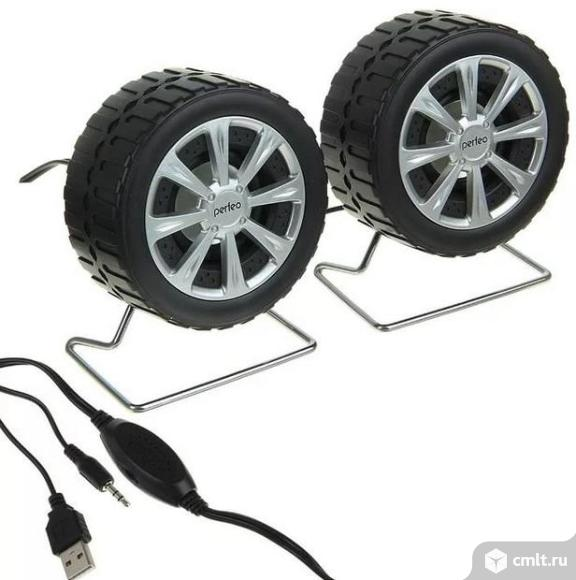 Новые компьютерные колонки Perfeo Wheels PF-038 (черно-серебристый). Фото 1.