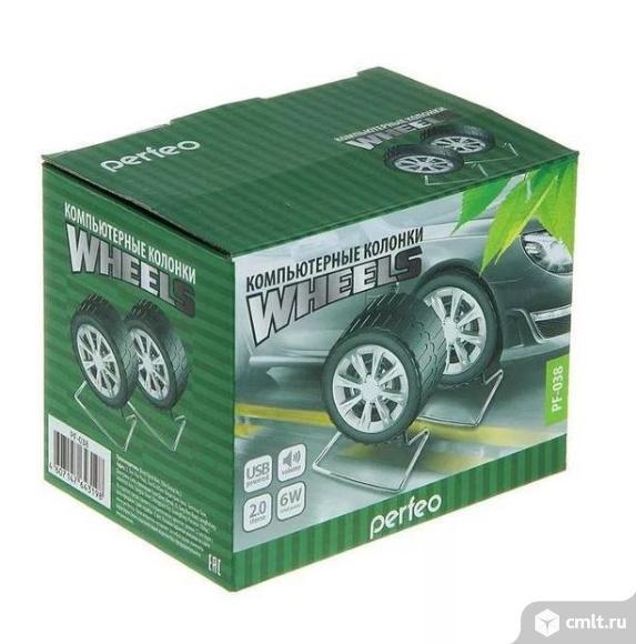 Новые компьютерные колонки Perfeo Wheels PF-038 (черно-серебристый). Фото 2.