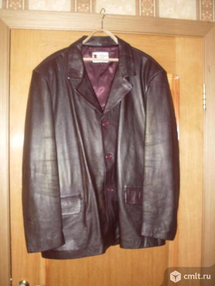 Куртка кожаная, цв. коричневый, р. 50-52, б/у. Фото 1.