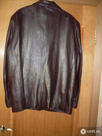 Куртка кожаная, цв. коричневый, р. 50-52, б/у. Фото 2.