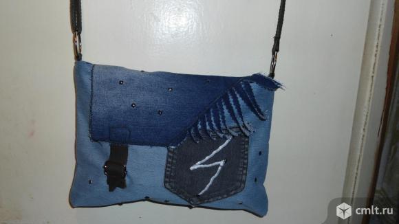Сумка женская джинсовая ручной работы. Фото 1.