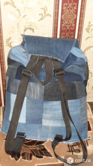 Рюкзак мужской джинсовый ручной работы. Фото 3.
