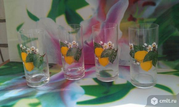 """Стаканы из стекла с декоративным рисунком """"Лимон"""""""