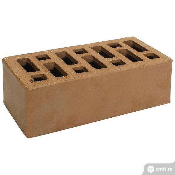 Кирпич лицевой керамический Старооскольский, коричневый, гладкий, 1,4НФ, М125, (352шт, упаковка). Фото 1.