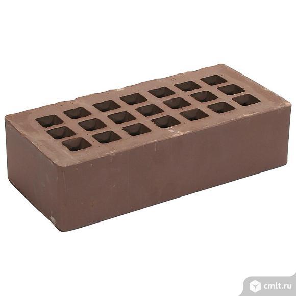Кирпич лицевой керамический Рязанский, коричневый, гладкий, 1,0НФ, М150, (480шт, упаковка). Фото 1.