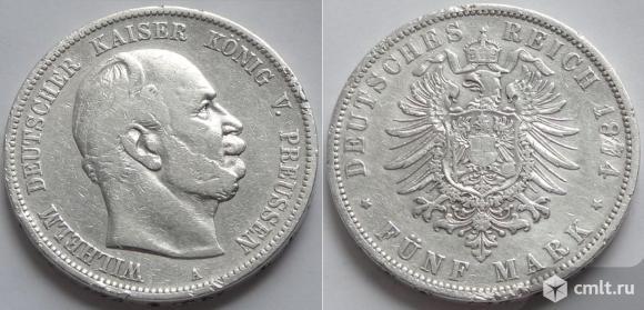 Пруссия 5 марок 1874, вышедшие из оборота. Фото 1.