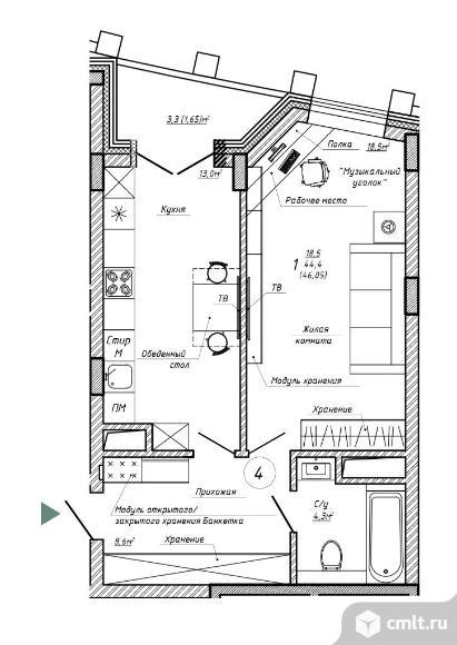 1-комнатная квартира 46,05 кв.м. Фото 1.