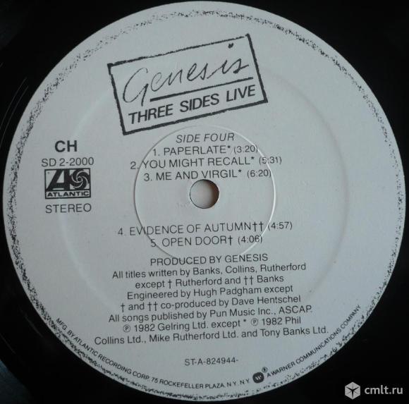 "2 грампластинки (винил) [2 LPs]. Гигант [12"" LP]. Genesis. Three Sides Live. 1982. Atlantic. USA.. Фото 8."