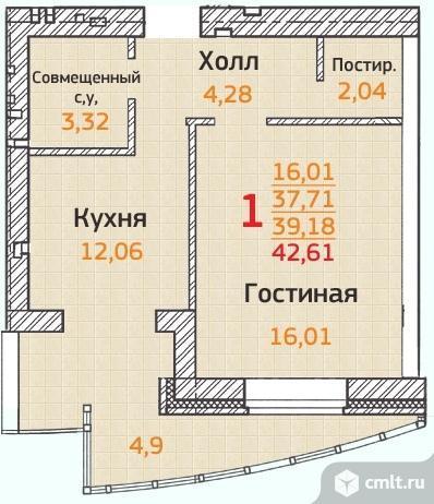 1-комнатная квартира 42,61 кв.м