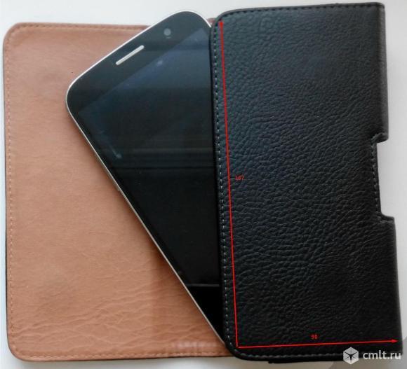 """Чехол сумка для смартфона 5.5 - 6"""", кожаный. Фото 1."""