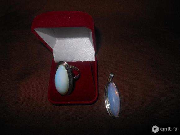Серебряный комплект кольцо+ подвеска. Фото 1.