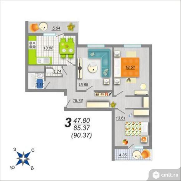 3-комнатная квартира 90 кв.м. Фото 1.