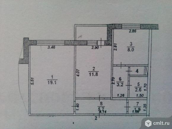 2-комнатная квартира 53,8 кв.м