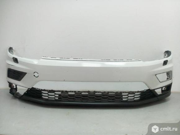 Бампер передний под омыв. фар с+ спойлер  VW TIGUAN 16- б/у 5NR807217GRU 5NR805903A9B9 4*. Фото 1.