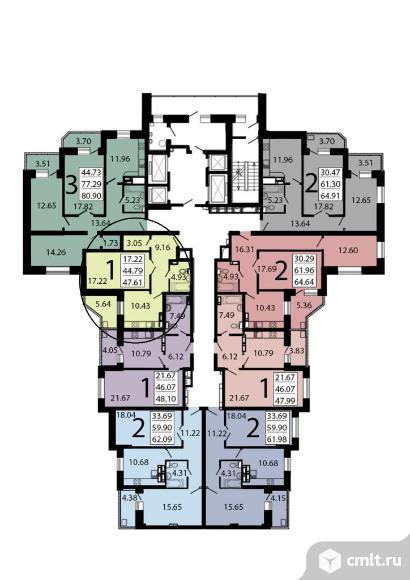 1-комнатная квартира 47,53 кв.м. Фото 7.