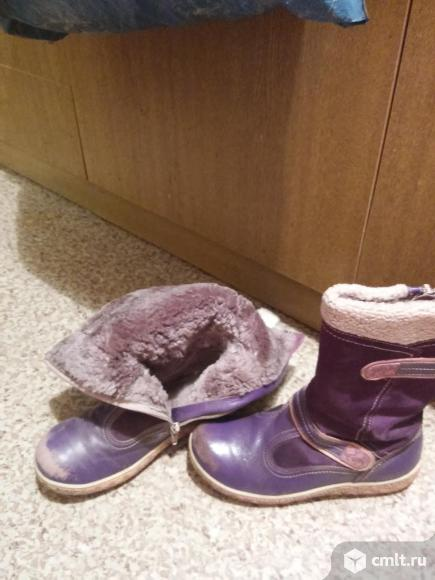 Зимние кожаные сапоги с натуральным мехом
