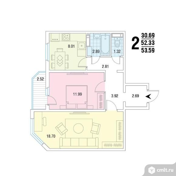 2-комнатная квартира 53,59 кв.м. Фото 1.