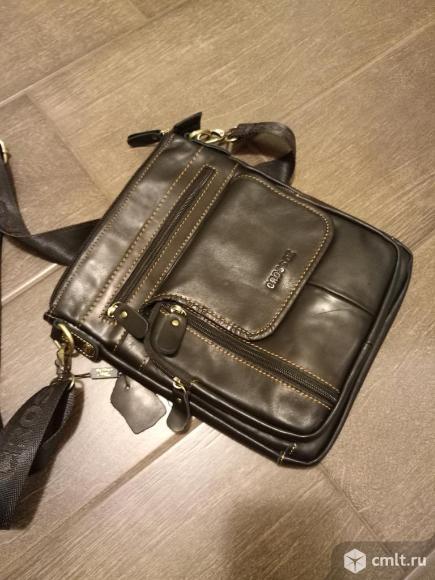 Мужская плечевая сумка (натуральная кожа).