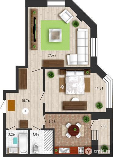 2-комнатная квартира 65,43 кв.м. Фото 1.