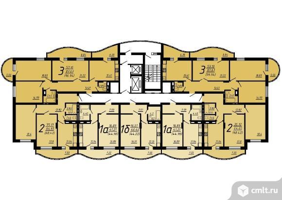 1-комнатная квартира 44,22 кв.м. Фото 1.