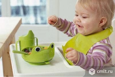 Набор детской посуды, 4 предм, зеленый.. Фото 1.