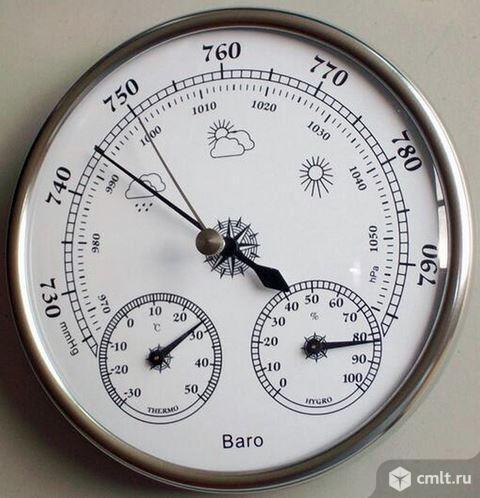 Барометр с термометром и гигрометром. Фото 1.
