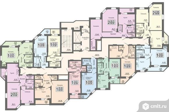 1-комнатная квартира 60,93 кв.м. Фото 4.
