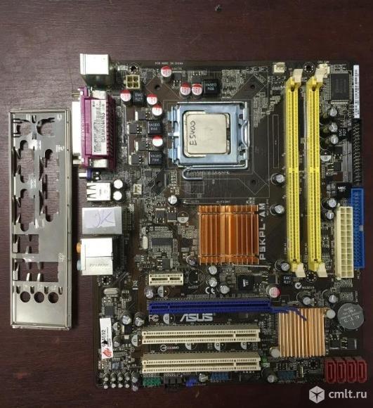 Комплект: плата asus P5KPL-AM + Pentium E5400. Фото 1.