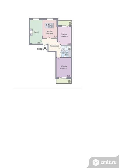 3-комнатная квартира 87,08 кв.м. Фото 1.