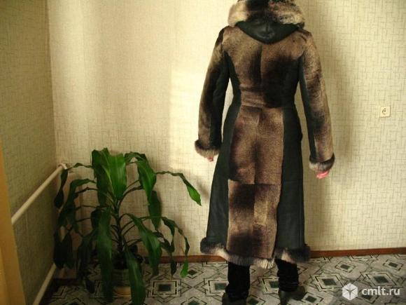 Шуба мутоновая, с натуральной кожей, размер 44-46. Фото 2.