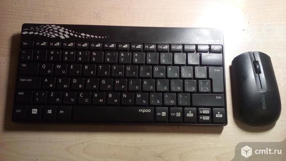 Беспроводная клавиатура и мышь новые.. Фото 1.