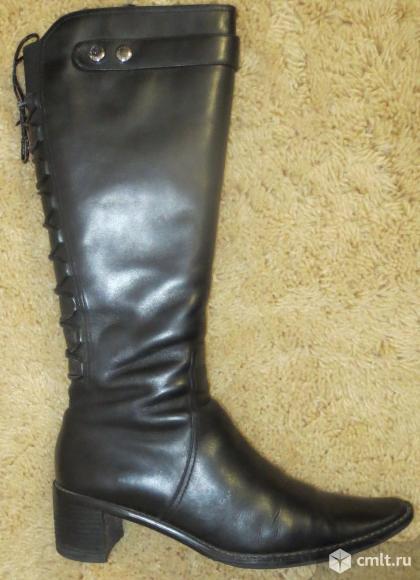 Сапоги черные кожаные зимние, устойчивый каблук 5,5 см натуральный мех, обхват голени до 34 см. Фото 1.