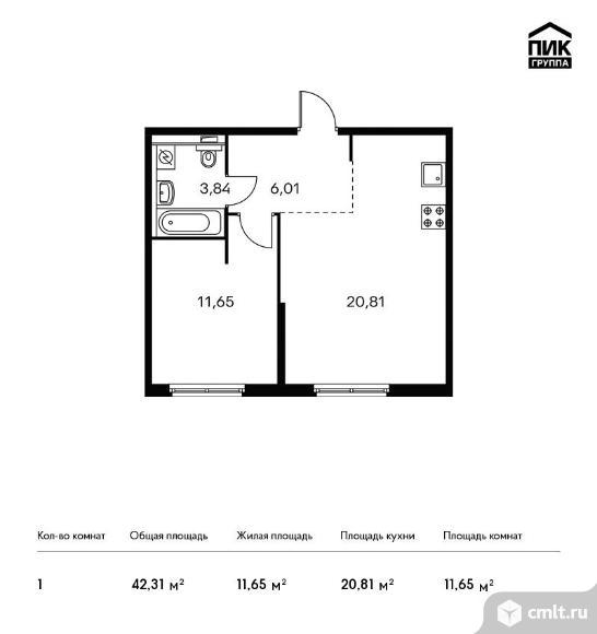 1-комнатная квартира 42,31 кв.м. Фото 1.