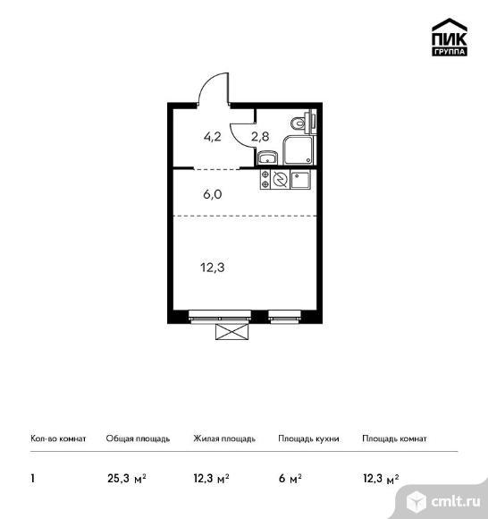 1-комнатная квартира 25,3 кв.м. Фото 1.