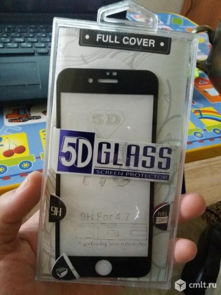 Защитное стекло 5d на iPhone 8 черное. Фото 1.