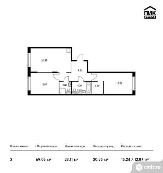 2-комнатная квартира 69,05 кв.м. Фото 1.