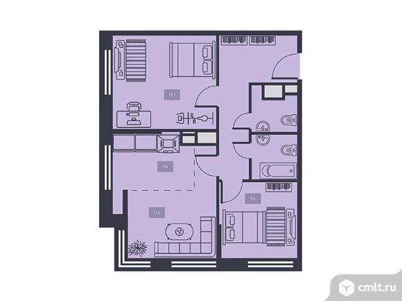 3-комнатная квартира 60,5 кв.м. Фото 1.