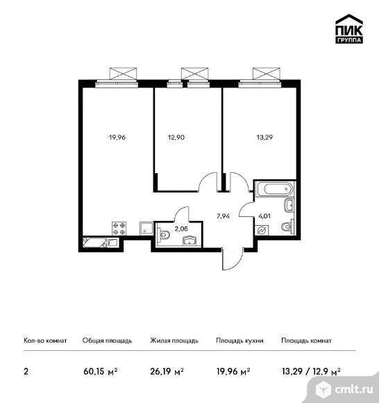 2-комнатная квартира 60,15 кв.м. Фото 1.