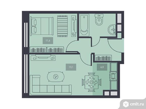 2-комнатная квартира 40,6 кв.м. Фото 1.