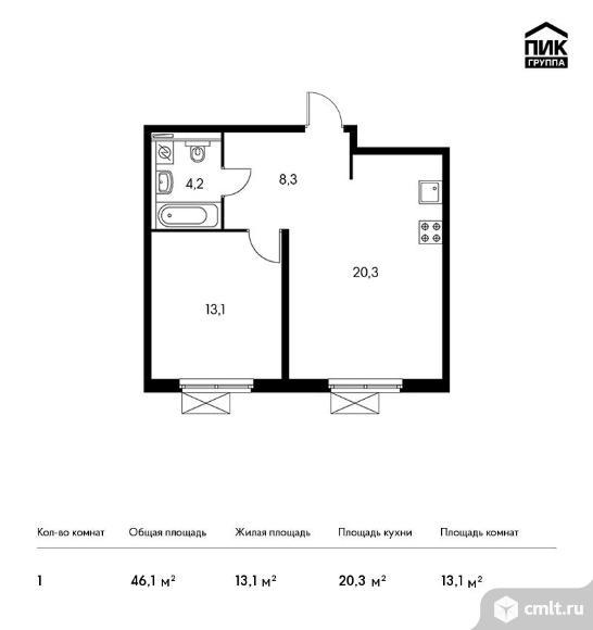 1-комнатная квартира 46,1 кв.м. Фото 1.