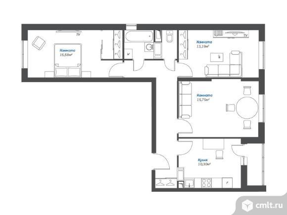 3-комнатная квартира 72,19 кв.м. Фото 1.