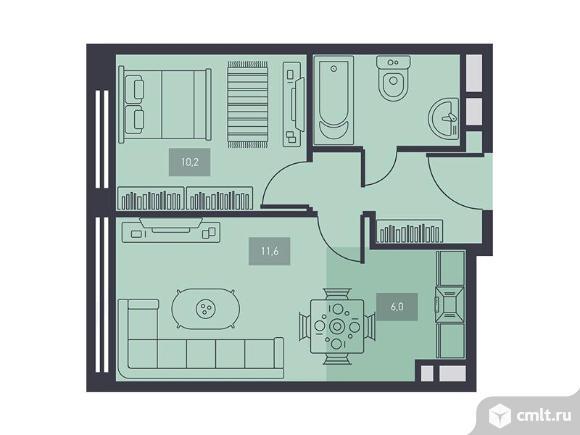 2-комнатная квартира 37,7 кв.м. Фото 1.